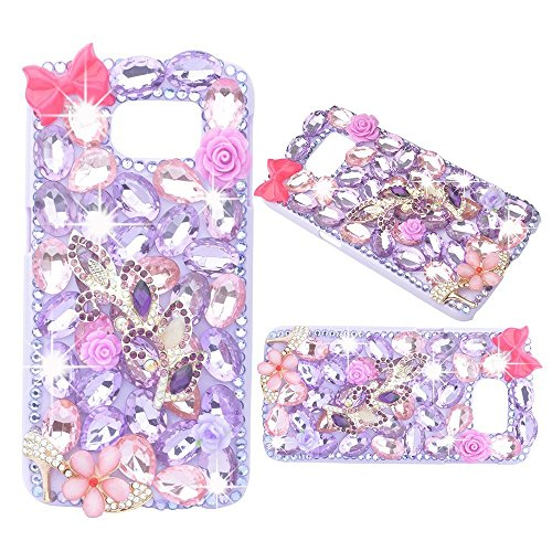 (Spritech(TM) Bling Clear Phone Case For Samsung Galaxy Note 5,3D Handmade Purple Pink Crystal Bowknot Flower Accessary Design Cellphone Hard Cover)