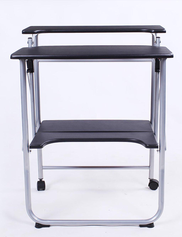 Einfache Moderne Doppelgeschmückten Laptop Desk Folding Schreibtisch Schreibtisch Schwarz ( farbe : B , größe : L*W*H: 57*50*78cm )