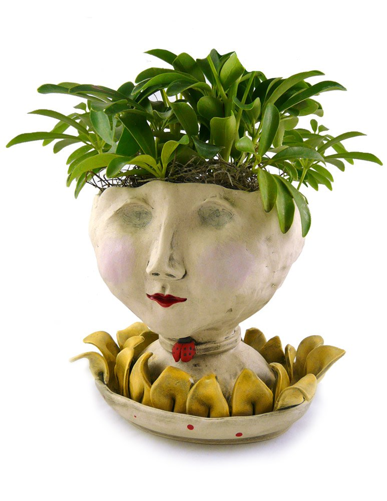 Victorian Lovelies Sculpted Indoor Head Planter: Petaluma Lady Version by Modern Artisans