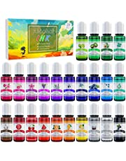 Alcohol Ink Set - 24 Vibrant Colors Alcohol-based Ink for Resin Petri Dish Making, Epoxy Resin Painting - Concentrated Alcohol Paint Color Dye for Resin Art, Tumbler Making, Painting - 24 x 10ml/.35oz
