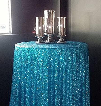 ShinyBeauty Turquoise 125cm Sequin Tablecloth Round Glitter Circular ...