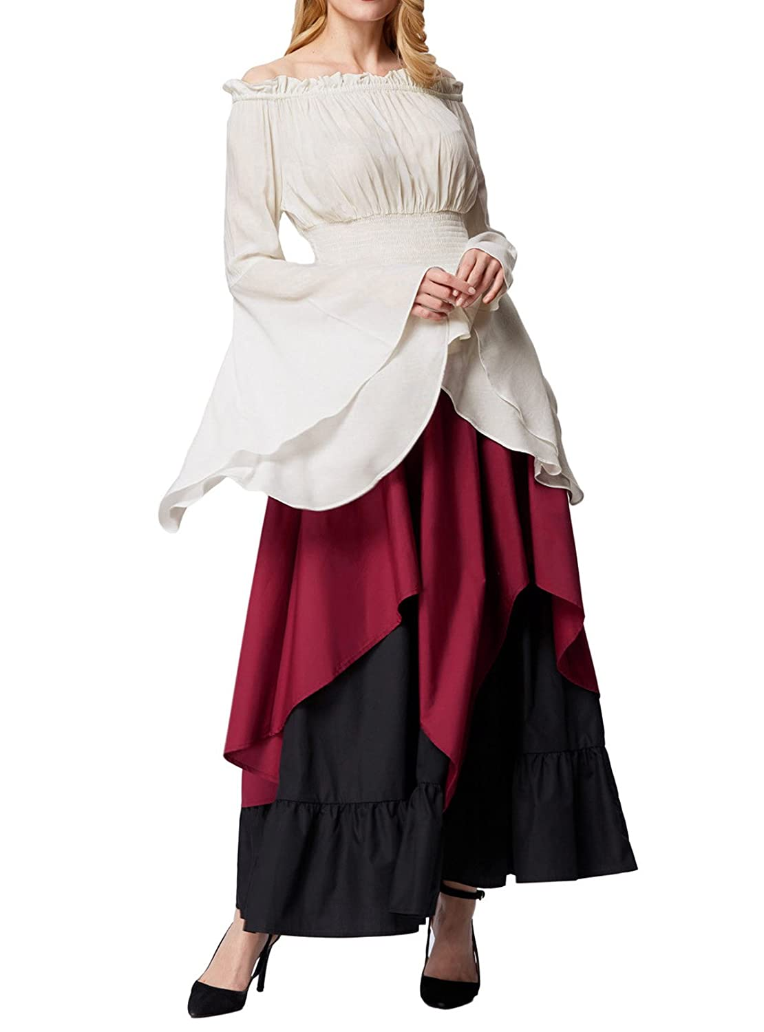 8d53dd3099b Features  Well elastic waistline  Asymmetrical two layers design  Contrast  color design  Pull-on closure. Style  Renaissance skirt  Gothic victorian  skirt  ...