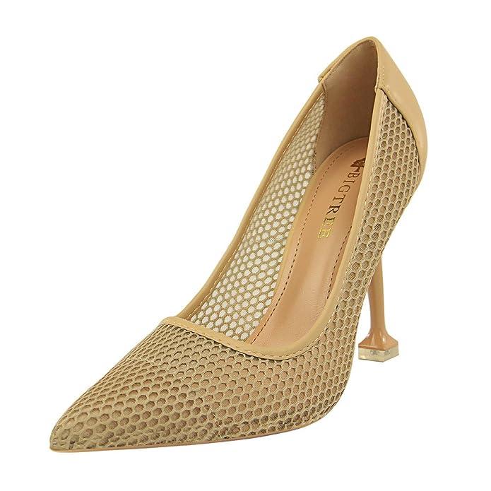 MONAcwe Stöckelschuhe Frau Sexy Spiky Naked Slip-in Hohl Mesh Kleid Kleid Schuhe Stiletto Heels 9.5cm, Beige, 38