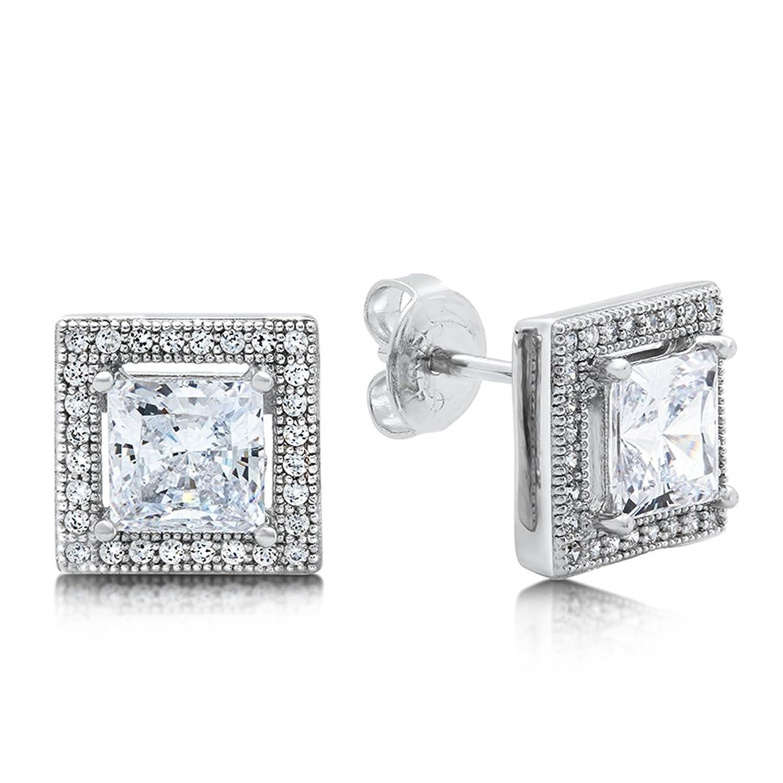 Princess Cut Cubic Zirconia Earrings Solid Sterling Silver – Push Back