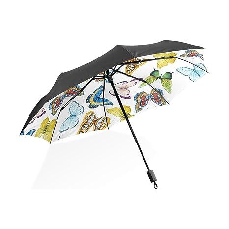 yuihome Manual 3 plegable sol/lluvia paraguas amarillo mariposa grupo anti-UV sombrilla de