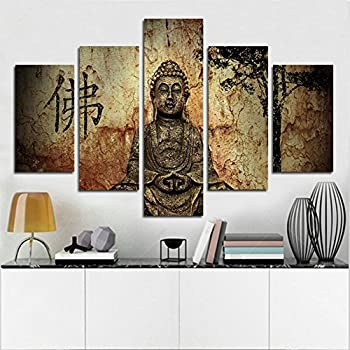 H.COZY 5 Panel Printed Summary Buddha Painting Canvas Wall Art Decoration Buddha  Buddha Image
