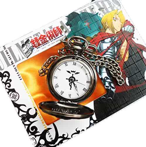 Touirch Anime Fullmetal Alchemist Edward Elric's Black Pocket Watch Cosplay