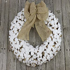 Cotton Wreath With Burlap Bow For Rustic Farmhouse Decor - 18 inches 2