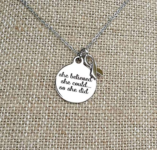 She Believed She Could So She Did Cancer Survivor Awareness Necklace with Ribbon Charm Non Tarnish Jewelry
