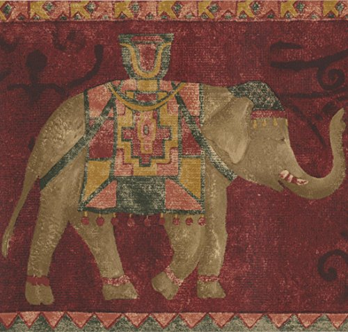 Red Rooster Border (Red Carpet with Brown Elephants Wallpaper Border Vintage Design, Roll 15' x 7'')