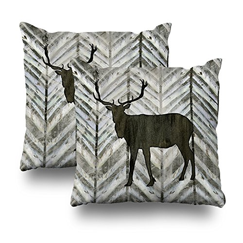 ONELZ Elk Antler With Birch Forest Lodge On Chevron Striped Square Decorative Throw Pillow Case, Fashion Style Zippered Cushion Pillow Cover (18X18 inch)(Set of (Antler Birch)