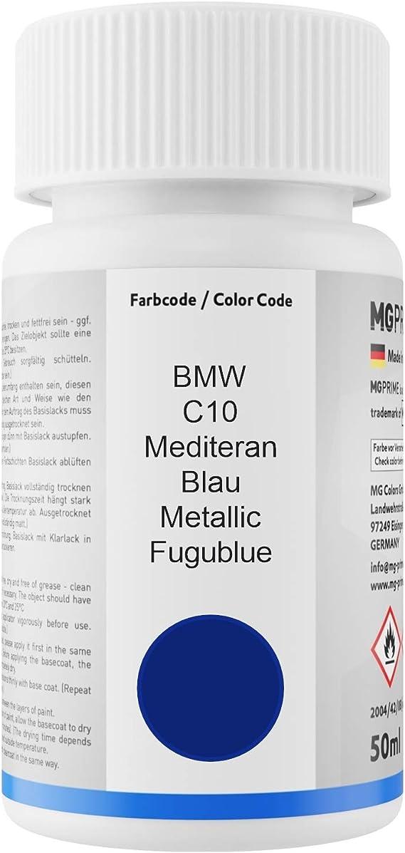 Mg Prime Autolack Lackstift Set Für Bmw C10 Mediteran Blau Metallic Fugublue Basislack Klarlack Je 50ml Auto