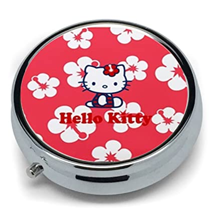 Hello Kitty Custom redondo Metal pastillero dispensador de medicina Tablet Holder Organizador funda para monedas bolsas
