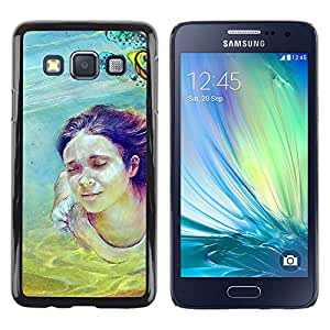 Samsung Galaxy A3 , JackGot - Impreso colorido protector duro espalda Funda piel de Shell (Cute Girl Diving Painting)