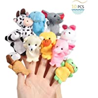Mumoo Bear 10pcs Cute Plush Animal Finger Puppets Set Soft Plush Toys Doll For Baby Early Educational Toys Birthday…