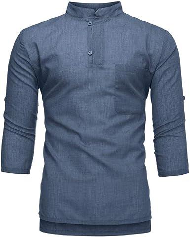DEELIN Camiseta para Hombre Camisetas Manga Corta Top Moda algodón Puro y cáñamo Blusa de Siete centavos: Amazon.es: Ropa y accesorios