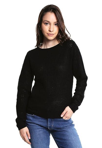 Simple People Suéter Cerrado Negro Sueter para Mujer Negro Talla S ... 955e1e7ed359