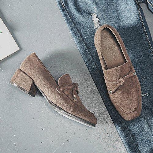 Chaussures Singles de chaud de carré avec Chaussures avec pour les Chaussures Printemps épais femme femelle travail Chaussures marron étudiants GAOLIM Femme 0ZYXYd