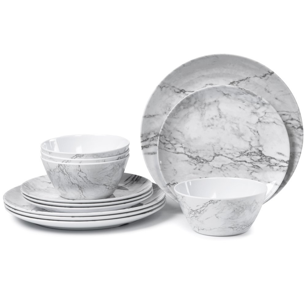 Melamine Dinnerware Set for 4-12 Piece Dinner Dishes Set for Camping Use, Lightweight Unbreakable and Dishwasher Safe, Marble Pattern
