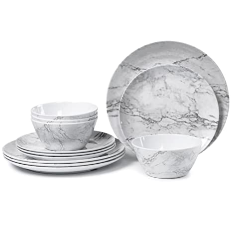 Attirant Melamine Dinnerware Set For 4 12 Piece Dinner Dishes Set For Camping Use,  Lightweight Unbreakable And Dishwasher Safe, Marble Pattern U2026