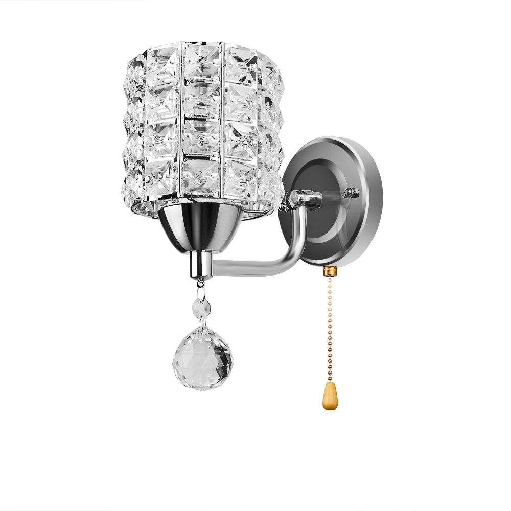 Houkiper Crystal Wall Lamp, Modern Luxury Chrome Finish Wall Light Sconces Lighting Fixture with Pendent - E14 Socket