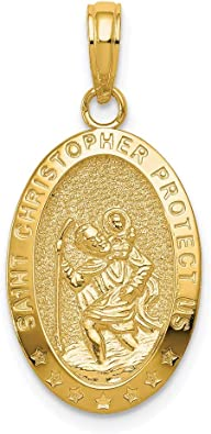 14k Yellow Gold St Christopher Religious Pendant Charm