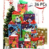 36 Pcs Christmas Holiday Gift Bags Set with Wrapping Papers and Tissue Paper for Christmas Gift Decoration, Holiday Gift Wrapping, School Classrooms, Party Favors by Joiedomi