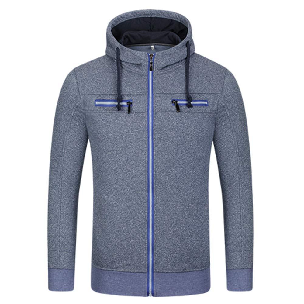 kaifongfu Men Zip Sweater Jacket Long Sleeve Hooded Top Autumn Winter Coat(Navy,L)