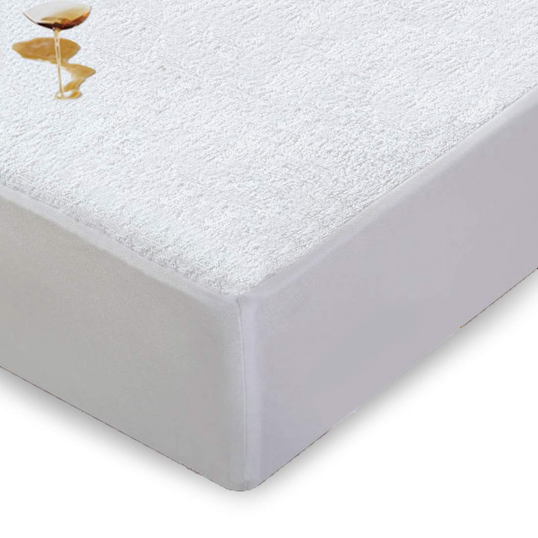 Emonia Twin XL Size Mattress Protector - Waterproof Fitted Mattress Cover with Deep Pocket (8-21), Hypoallergenic Breathable 100% Cotton - Vinyl,PVC and Phthalate Free Bed Bug Protection Voilets