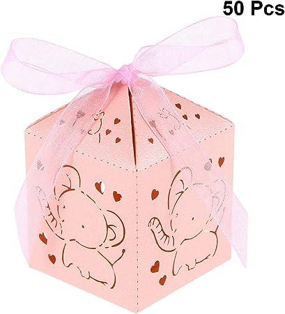 STOBOK Cajas de Caramelos de Papel Hueca para Bombones Dulce Chocolate Cajas de Regalo para Bautizo Decoraciones del Regalo de Cumpleaños 50 Piezas con Patron de Elefante (Rosa): Amazon.es: Hogar