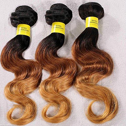 Brazilian Body Wave Ombre Hair Mixed-Length 14''16''18'',3 Bundles/300g,Three-Tone Color #1B/30/27