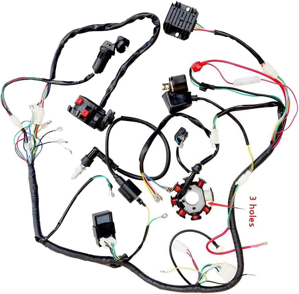 wiring harness kit for atv amazon com zxtdr complete wiring harness kit wire loom electrics  zxtdr complete wiring harness kit wire