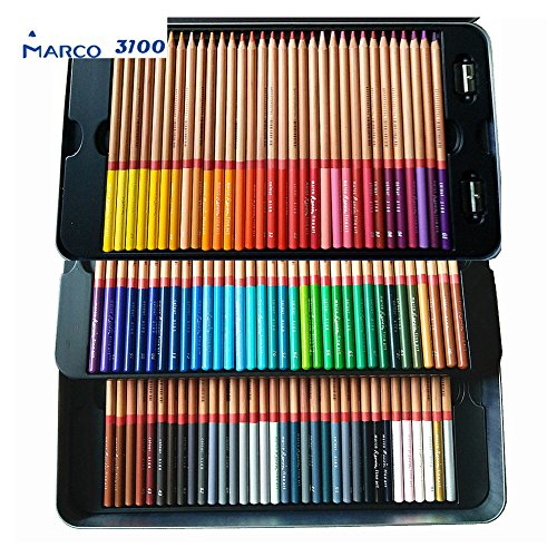 Marco Renior 100 count Colored Oil Pencils Set Perfet for Artist Sketching Drawing Writing Art Painting/ Adult Coloring Books Metal Tin Case Egoshop