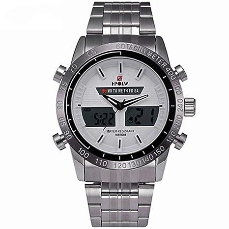 WULIFANG Impermeable Reloj Deportivo Militar De Hombres De Acero Plateado Reloj Analógico Reloj Digital De Cuarzo