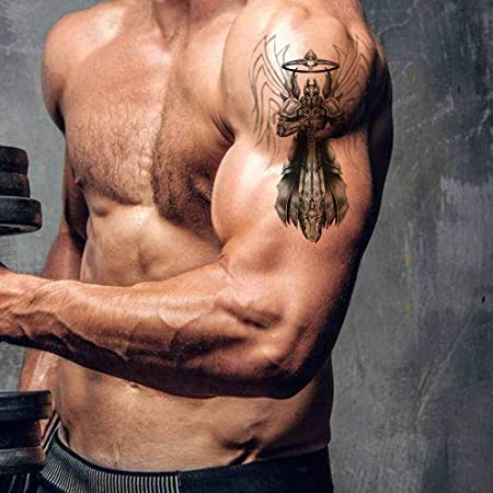 Amazon Com Temporary Tattoos For Men Cross Warrior Wing Tattoo Sticker Back Chest Shoulders Arm Body Art Large Removable Tattoo Waterproof Pattern 1 Beauty