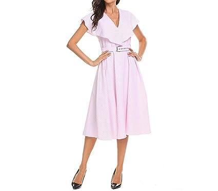 Zcaosma Women Dress Striped Midi Swing Vintage Belt Wide Lapel Sleeveless 50S 60S Robe Slim Dresses