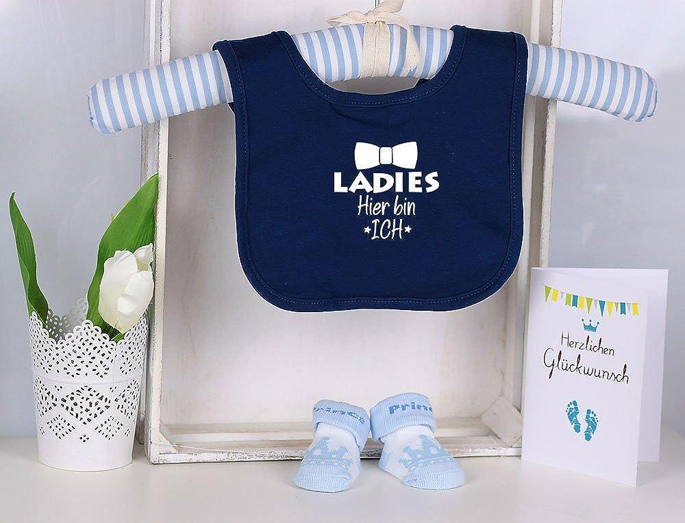 Trend Mama Windeltorte blau-hellblau Junge L/ätzchen Babysocken Ladies Hier bin Ich