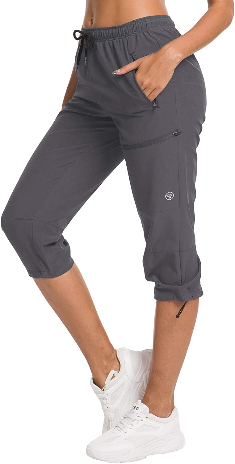 ChinFun Women's Hiking Capris Pants Outdoor Quick Dry Cargo Cropped Pants Water Resistant, UPF 50+