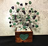 Amethyst, Rose Quartz and Green Adventurine Wire Gemstone Bonsai Tree of Life in Wood Flower Pot With Heart Cut Out, Healing Crystal Gemstone Tree, Wire Bonsai Tree, Photo Insert Flower Pot