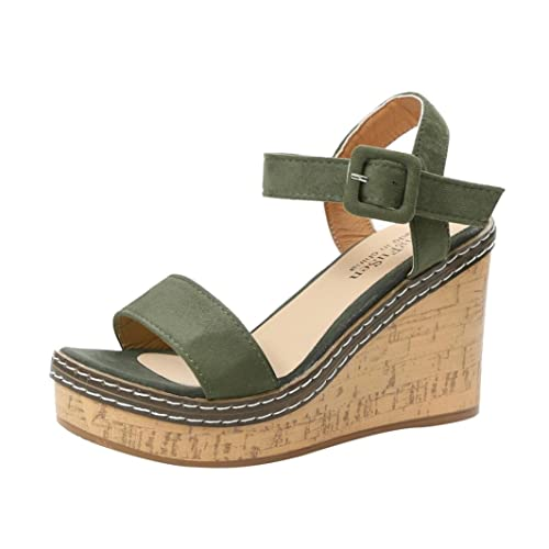 FNKDOR Damen Keilabsatz Sandalen Plattform Peeptoe Schuhe Wedges Sandaletten