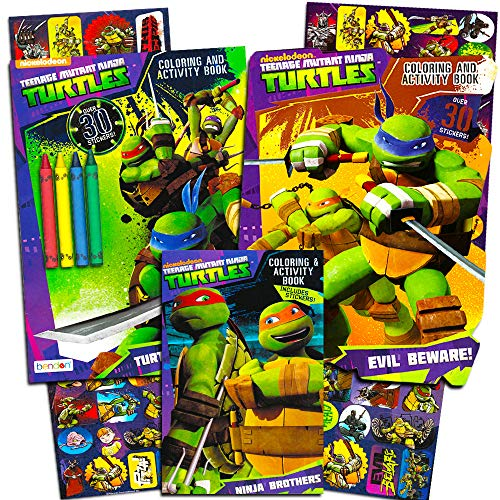 Turtle Activity Book - Teenage Mutant Ninja Turtles Coloring and Activity Book Set with Stickers (3 TMNT Coloring Books, Over 30 Stickers)