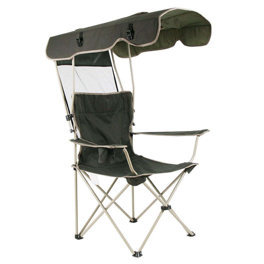 キャノピー付きキャンプチェアヘビーデューティーインドアビーチ芝生折りたたみ軽量ラウンジチェアチェア、ホールド150kg、ブラック   B07D344RLJ