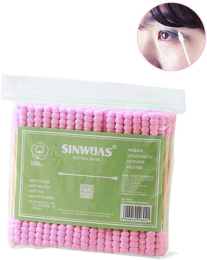 KiGoing - 100 almohadillas de algodón, mango de papel de celulosa ...