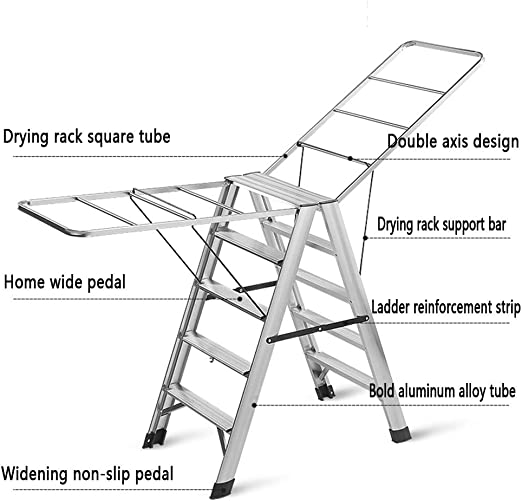 Escalera De Aluminio, Tendedero Plegable Multiusos, Balcón De Piso, Baño De Sol, Escalera De Doble Uso, Escalera De ala for El Hogar (Size : 5-Step ladder Drying Rack): Amazon.es: Hogar