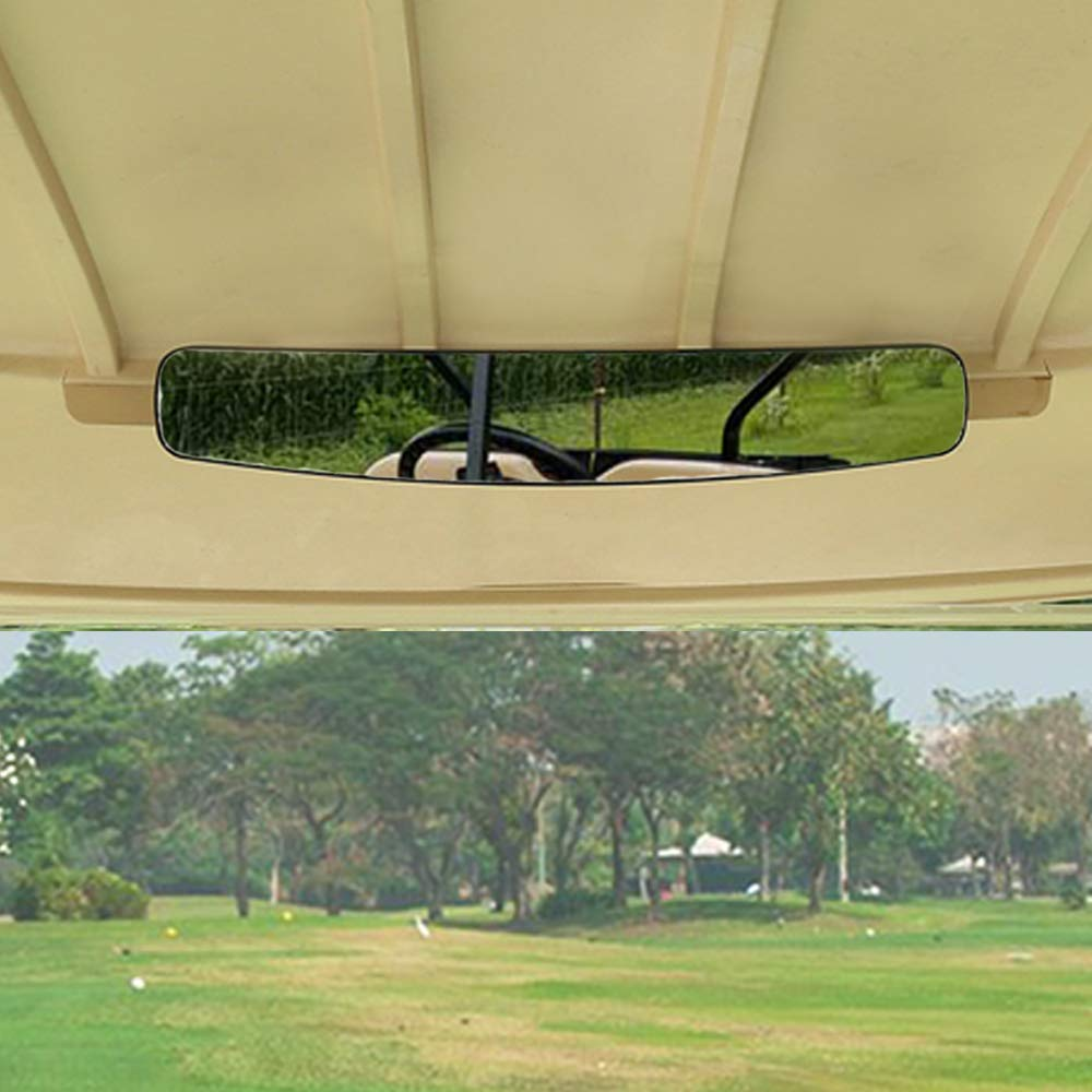 [Newest] Golf Cart Rear View Mirror Without Vibration & Fall Off, Moveland 15'' Wide Panoramic Mirror for EzGo, Yamaha, Club Car