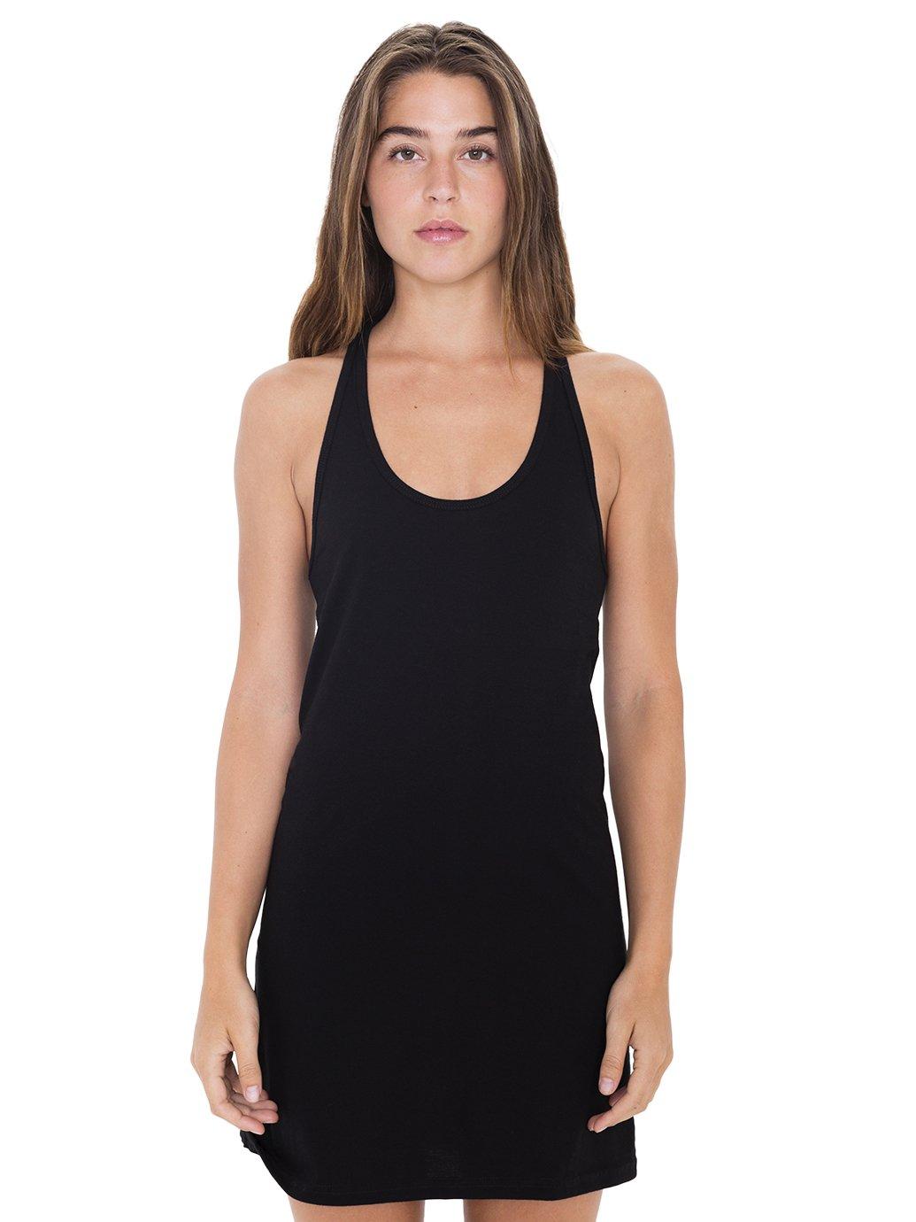 American Apparel Women's Fine Jersey Racerback Tank Dress, Black, Large