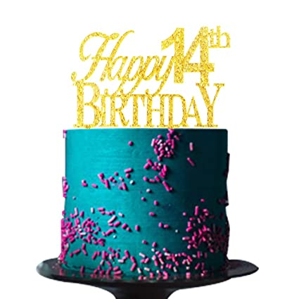 Risehy - Decoración para tarta de 14 cumpleaños, decoración ...