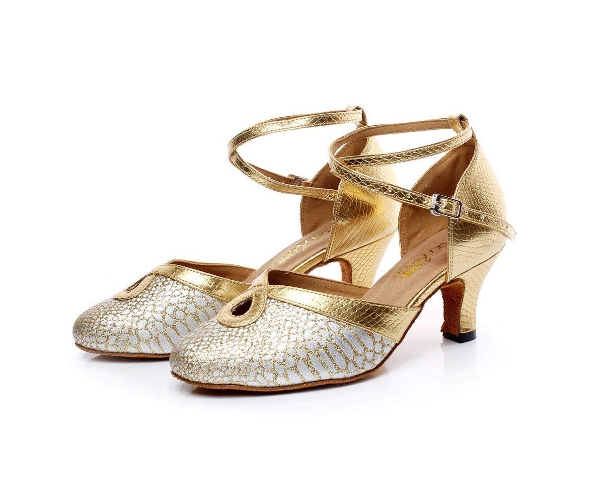 HhGold Damen Leder Spitz Kitten Ferse Latin Ballroom Dance Dance Dance Schuhe Salsa Tango Chacha Samba Modern Jazz Schuhe GelbHeeled6cm-UK3.5   EU34   Our35 9d4361