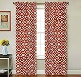 2 Piece Set KARIAN Window Panels Printed Grommet Top Decorative Curtains, 54″x84″ & 54″x95″ (54″x84″, Orange) For Sale