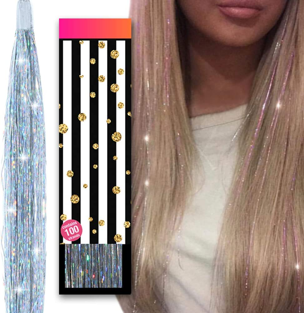 Silver Sparkly Glitter Star Hair Clips x2 Girls Xmas Party Christmas Party